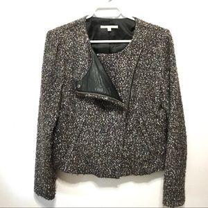 GAP Textured Jacket/Blazer Faux Leather Detail